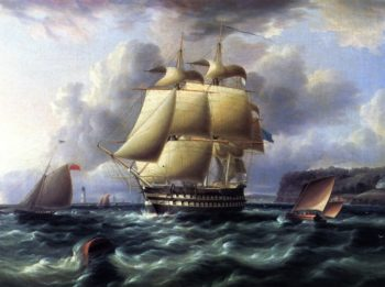 H M S Rodney in Plymouth Sound | James E Buttersworth | oil painting