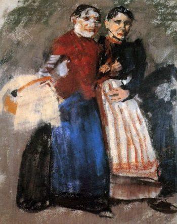 Two Amsterdam girls | George Heidrik Breitner | oil painting