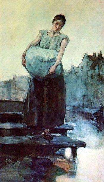 The washing woman | George Heidrik Breitner | oil painting