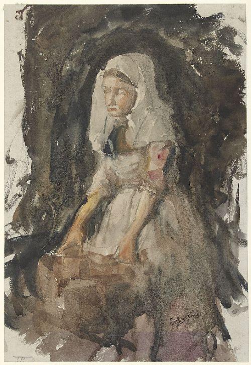 Girl from Scheveningen at a Tub | George Heidrik Breitner | oil painting