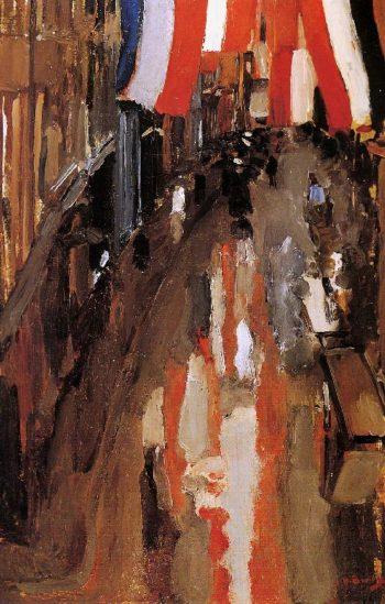 Kalverstraat with Flags | George Heidrik Breitner | oil painting