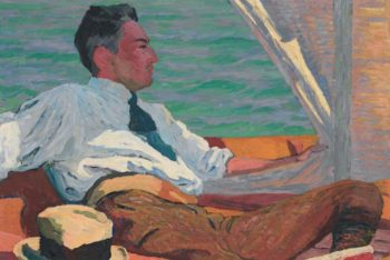Portrait of Richard Buhler in the sail boat | Giovanni Giacometti | oil painting