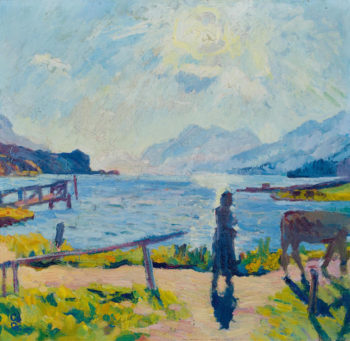 Morning sun on the lake Sils | Giovanni Giacometti | oil painting