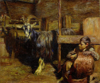In the goat barn | Giovanni Giacometti | oil painting