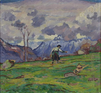 Farmers in the fields near Maloja | Giovanni Giacometti | oil painting
