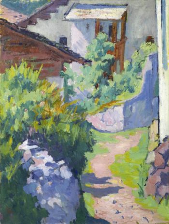 House and road at Capolago | Giovanni Giacometti | oil painting