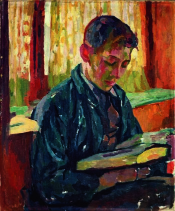 Alberto Reading | Giovanni Giacometti | oil painting