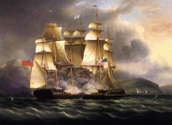 The U S S Chesapeake and H M S Shannon in the Battle of Boston | James E Buttersworth | oil painting