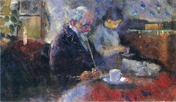 At the Coffee Table | Edvard Munch | oil painting