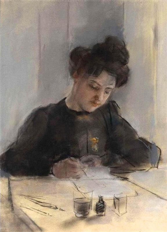 A Girl Sketching | Sir William Orpen | oil painting