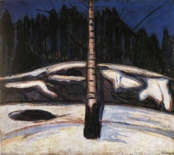 Birch in the Snow | Edvard Munch | oil painting