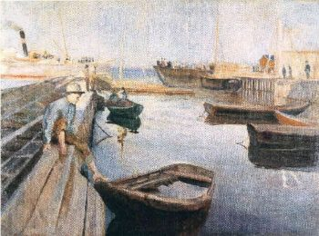 Arrival of the Mail Boat | Edvard Munch | oil painting