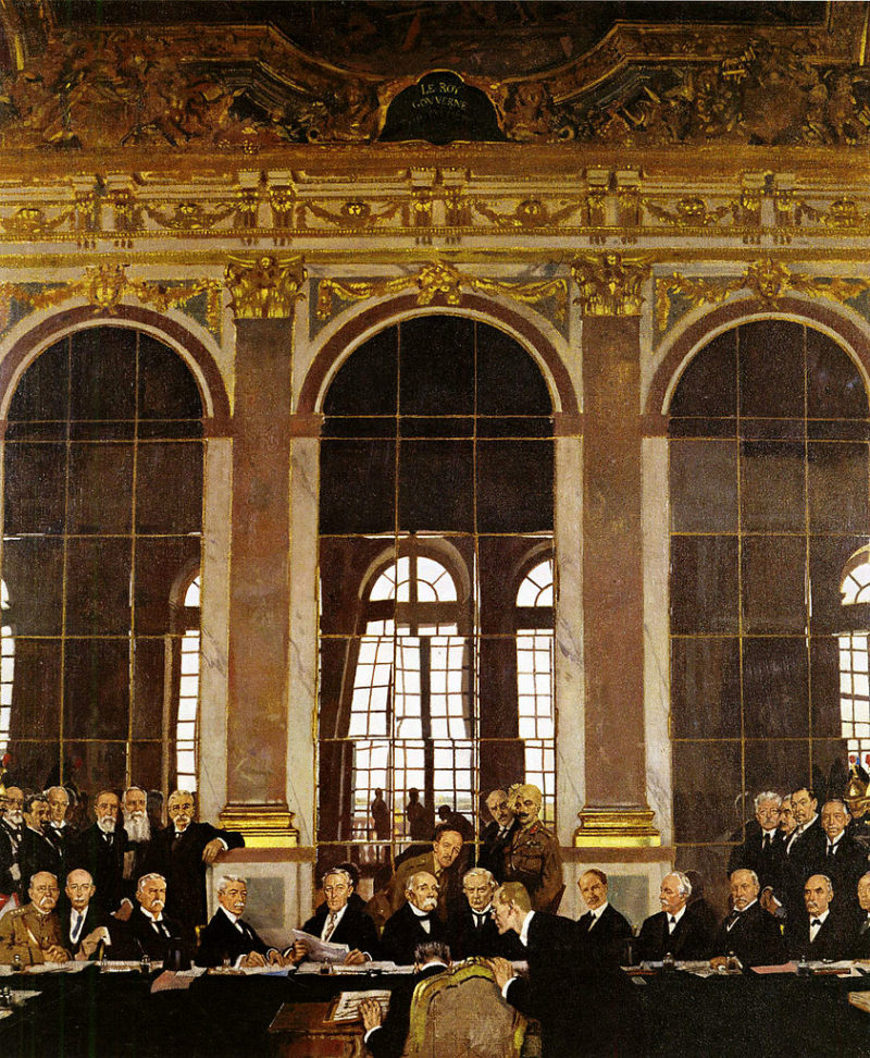 The Signing of Peace in the Hall of Mirrors Versailles   Sir William Orpen   oil painting