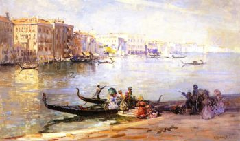 Blue Lagoon Fringed Round with Palaces | Sir Arthur Streeton | oil painting