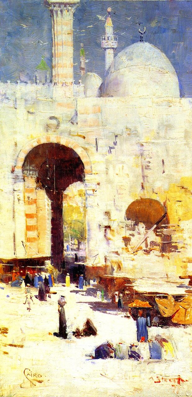 Cairo Street   Sir Arthur Streeton   oil painting