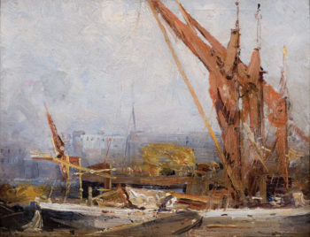 The Hay Barges | Sir Arthur Streeton | oil painting
