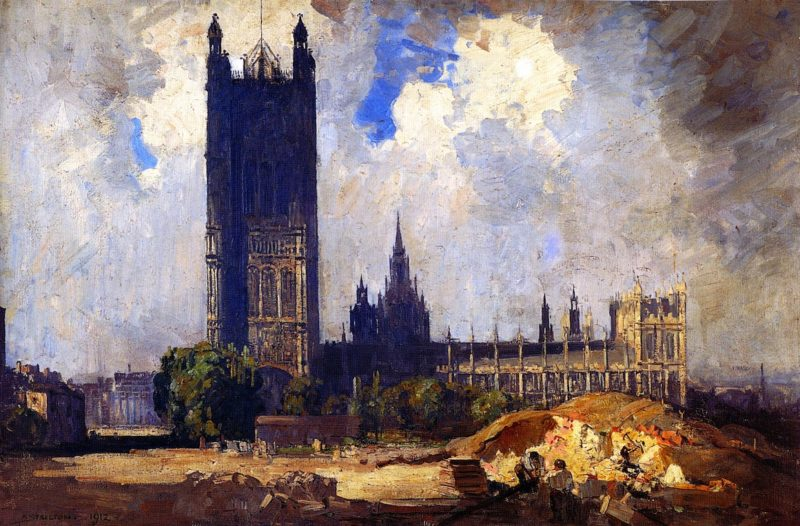 The Victoria Tower Westminster   Sir Arthur Streeton   oil painting