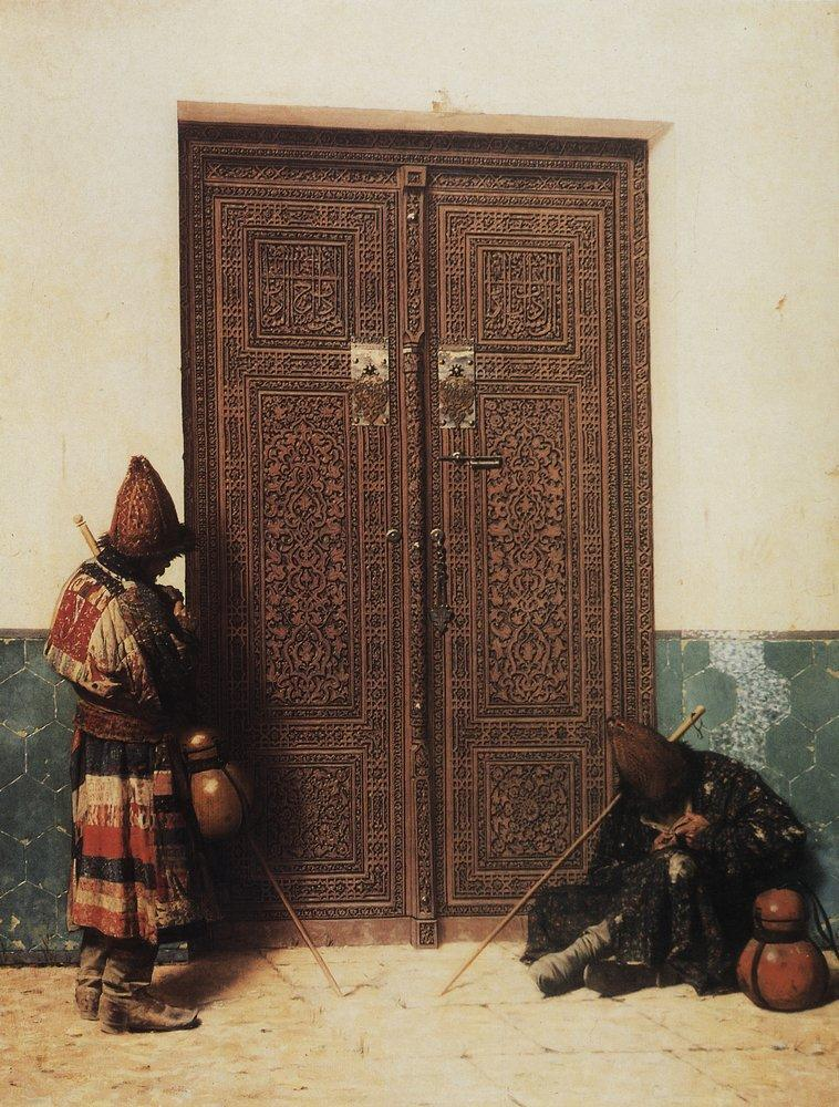At the door of the mosque 1873 | Vasily Vereshchagin | oil painting