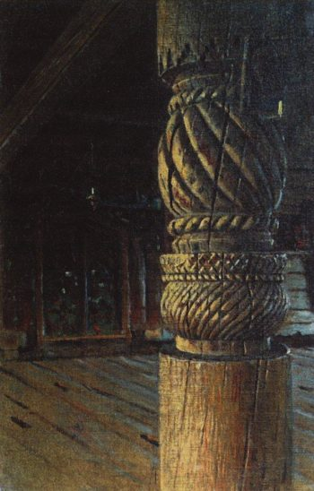 carved pillars in the refectory Petropavlosk church in the village Puchugi Vologda province 1894 | Vasily Vereshchagin | oil painting
