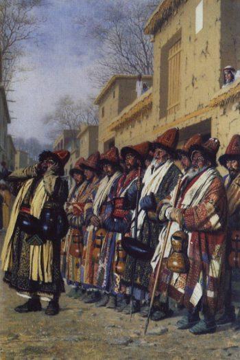Chorus dervish begging Tashkent 1870 | Vasily Vereshchagin | oil painting
