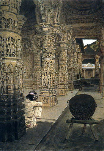 Colonnade in the Jain temple at Mount Abu in the evening 1874 1876 | Vasily Vereshchagin | oil painting