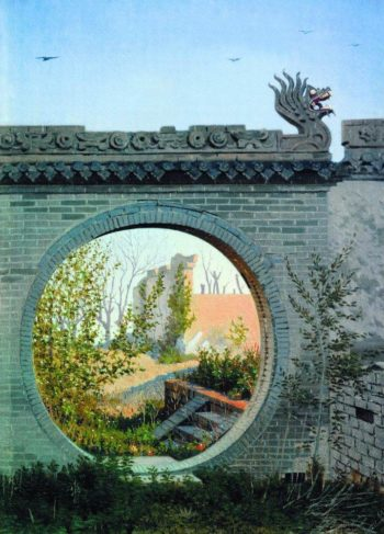 garden gate in Chugachuk 1869 1870 | Vasily Vereshchagin | oil painting