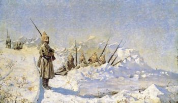 Snow trenches Russian positions on the Shipka Pass 1878 1881 | Vasily Vereshchagin | oil painting