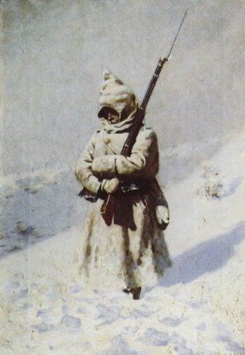 Soldier in the snow 1877 1878 | Vasily Vereshchagin | oil painting