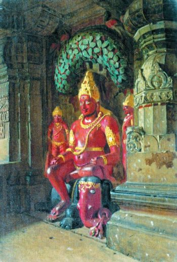 Statue of Vishnu in the temple of Indra in Ellora 1874 1876 | Vasily Vereshchagin | oil painting