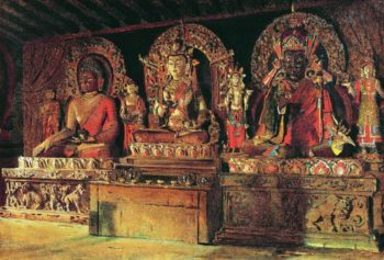 Three major deities in a Buddhist monastery in Sikkim Chingacheling 1875 | Vasily Vereshchagin | oil painting