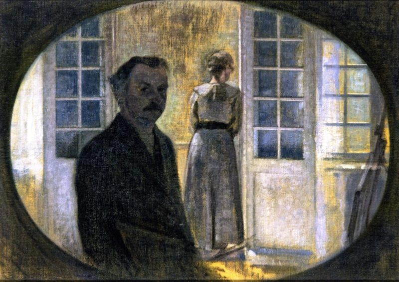 Double Portrait of the Artist and his Wife seen through a Mirror The Cottage Spurveskjul | Vilhelm Hammershoi | oil painting