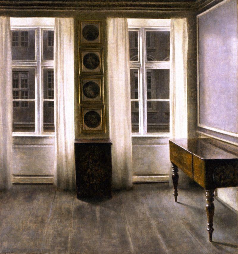 Drawing Room The Four Copper Prings   Vilhelm Hammershoi   oil painting
