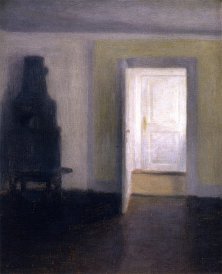 Interior An Old Stove Albertines Lyst Lyngby | Vilhelm Hammershoi | oil painting