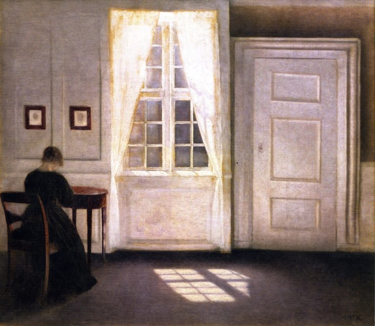 Interior from Strandgade with Sunlight on the Floor | Vilhelm Hammershoi | oil painting