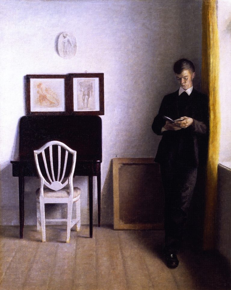Interior wit a Young Man Reading | Vilhelm Hammershoi | oil painting