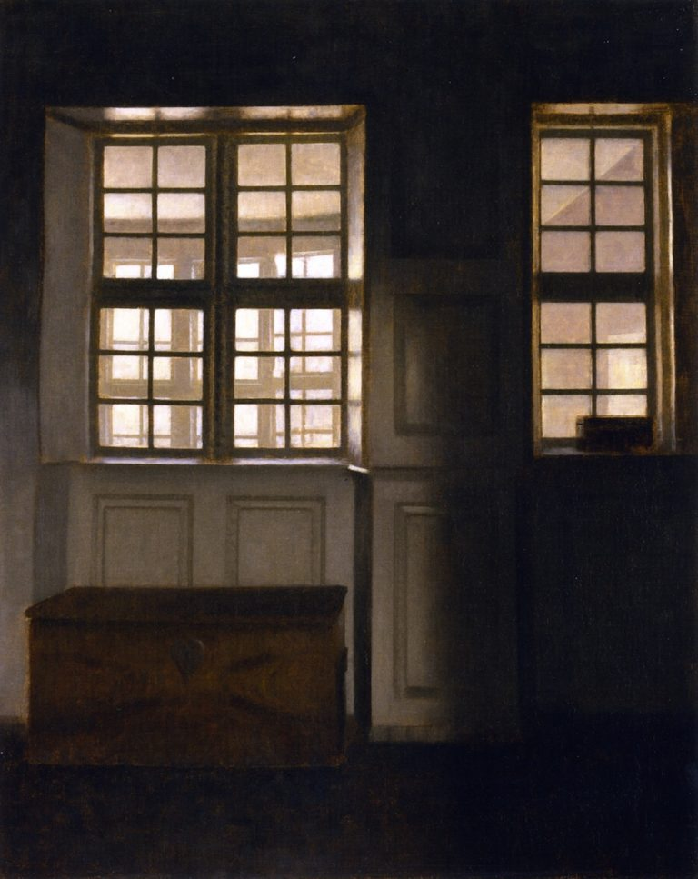 Interior with a View of an Exterior Gallery | Vilhelm Hammershoi | oil painting