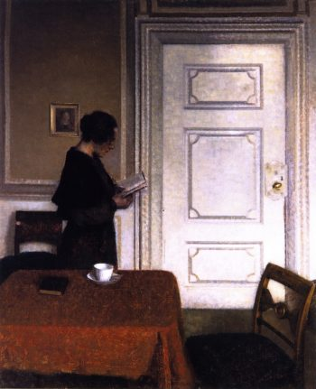 Interior with a Woman Reading | Vilhelm Hammershoi | oil painting