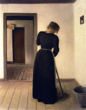 Interior with a Young Woman Sweeping | Vilhelm Hammershoi | oil painting