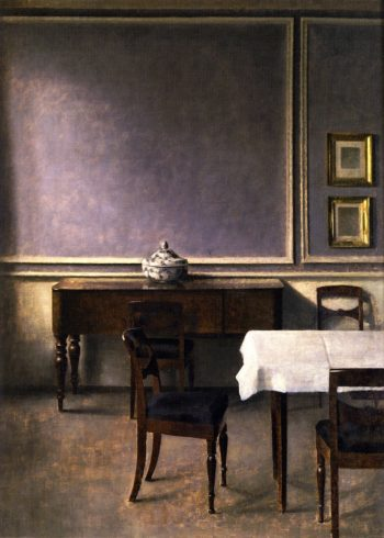 Interior with Punchbowl   Vilhelm Hammershoi   oil painting