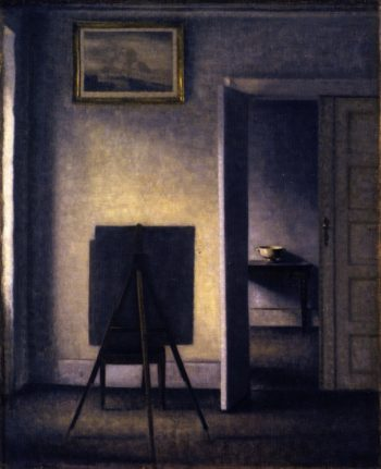 Interior with the Artist's Easel | Vilhelm Hammershoi | oil painting