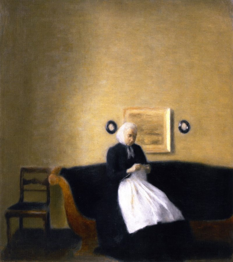 Interior with the Artist's Mother and Sister | Vilhelm Hammershoi | oil painting