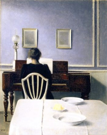 Interior with Woman at Piano Strandgade 30 | Vilhelm Hammershoi | oil painting
