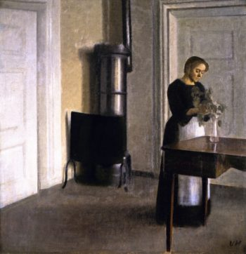 Interior with Woman Putting Twigs in a Glass Strandgade 30 | Vilhelm Hammershoi | oil painting