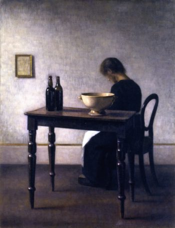 Interior with Woman Sitting at a Table | Vilhelm Hammershoi | oil painting