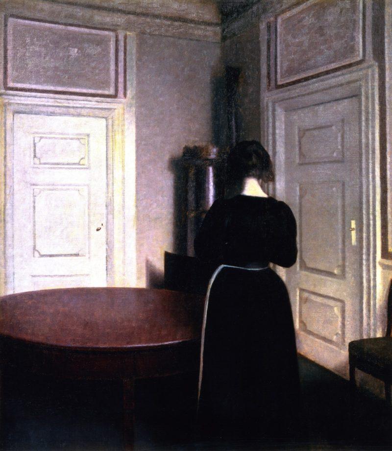 Interior   Vilhelm Hammershoi   oil painting