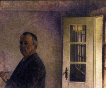 Self Portrait The Cottage Spurveskjul | Vilhelm Hammershoi | oil painting
