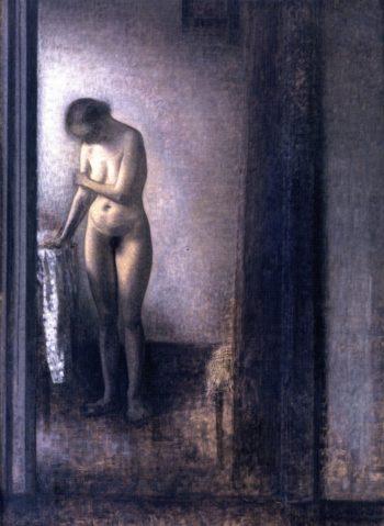 Standing Female Nude | Vilhelm Hammershoi | oil painting