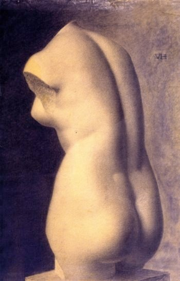Study drawing of plaster cast of ancient Greek Aphrodite toss from c 500 BC | Vilhelm Hammershoi | oil painting