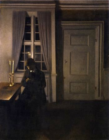 The Coin Collector | Vilhelm Hammershoi | oil painting