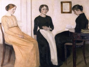 Three Young Women | Vilhelm Hammershoi | oil painting